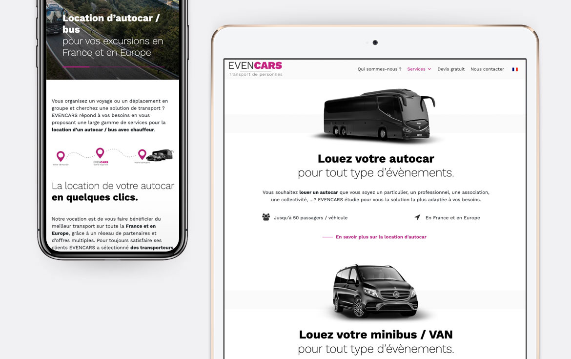 Evencars - Conception du site internet